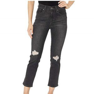 LEVIS SCULPT 724 HIGH RISE STRAIGHT ripped CROPPED
